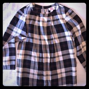 AKA silk plaid black and white blouse with pleats